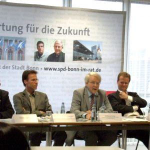 von links nach rechts: Günter Mitlacher, Prof. Raimund Bleischwitz, Wolfgang Hürter, Frank Schwabe, MdB; Joachim Helbig