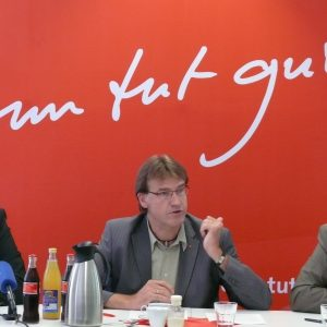 Pressekonferenz am 5. August 2008 - Ulrich Kelber, Wilfried Klein, Ernesto Harder