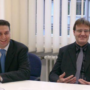 Ernesto Harder, Vorsitzender der Bonner SPD und Wilfried Klein, Vorsitzender der SPD-Fraktion im Rat der Stadt Bonn
